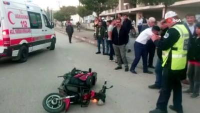 agir yarali -  Otomobil ile elektrikli bisiklet çarpıştı:1 ağır yaralı