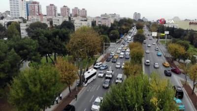 servis araci -  Bakırköy'de kaza nedeniyle kitlenen sahil yolu trafiği havadan görüntülendi