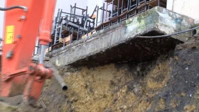 İstinat duvarı çöken lisede çalışmalar başladı