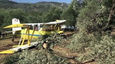 Zeytin ilaçlama uçağı sert iniş yaptı - BALIKESİR