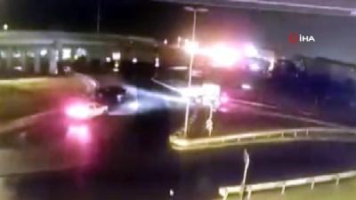 Genç polis memuru aracında ölü bulundu...İntihar şüphesi üzerinde durulan polis memurunun aracının bariyerlere çarptığı anlar kamerada