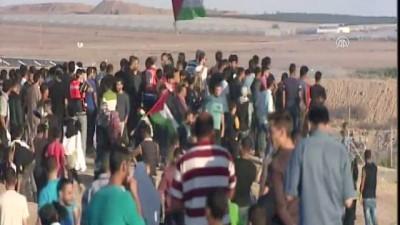 Filistinliler eylem için Gazze sınırında - GAZZE