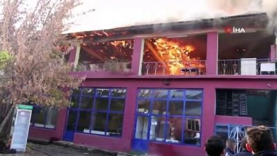 TOMA'nın müdahalesiyle iş yerindeki yangın söndürüldü