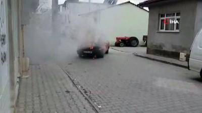 mel b -  LGP'li otomobil alev alev yandı