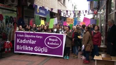 Hopalı kadınlar kadına şiddete karşı yürüdü