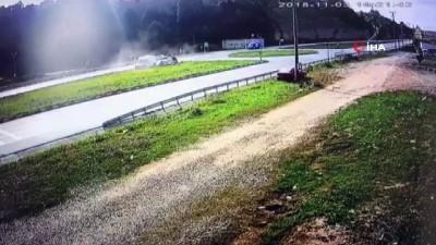 Otomobilin takla attığı kaza güvenlik kamerasında
