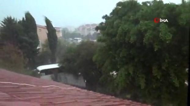guvenlik kamerasi -  Marmaris'te korkutan fırtına... Bir restoranın hasar gördüğü anlar kamerada