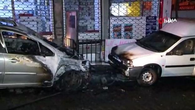 kamera -  Bahçelievler'de park halinde otomobil alev alev yandı Video
