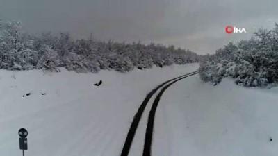 kar manzaralari -  Kar yağışı sonrası kartpostallık görüntüler havadan böyle görüntülendi