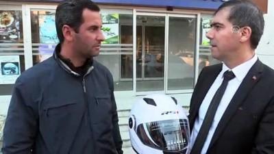 'Sehven' ceza kesilen motosikletliye kask hediyesi - EDİRNE