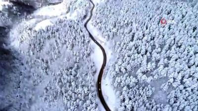 Uludağ'a kar yağdı, ortaya çıkan güzellik havadan böyle görüntülendi