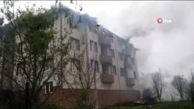 Kalıcı konutlarda yangın dehşeti: 4 daire küle döndü