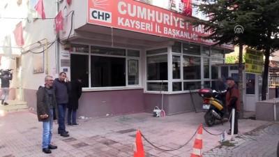 uyusturucu madde - Kayseri'de CHP ilçe başkanlığına zarar verildi