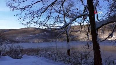 kar manzaralari -  Zinav Gölü'nde eşsiz kış güzelliği