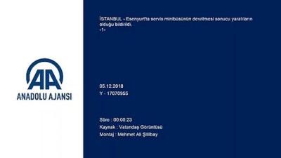 Esenyurt'ta servis minibüsü devrildi (1) - İSTANBUL