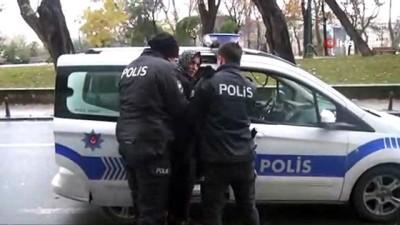 Taksim'de polisi alarma geçiren şüpheli kadın gözaltına alındı