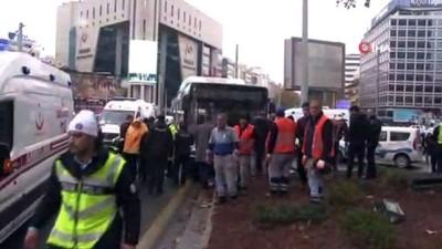 Başkent'te kontrolden çıkan belediye otobüsü yayalara çarptı: 2 yaralı