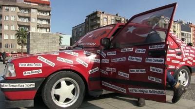 Otomobilini şehitlerin isimleriyle donattı - SAMSUN