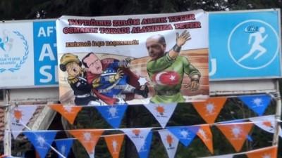 Erdoğan ziyareti öncesi Afyonkarahisar'da dikkat çeken 'Osmanlı tokadı' pankartı