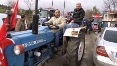 Traktörlerle askerlik şubesine gelip Afrin'e gitmek istediler