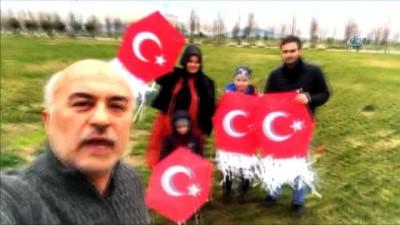 Zeytin Dalı Harekatı'na dev Türk bayrağı uçurtmayla destek