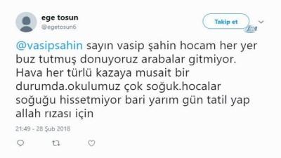 Öğrencilerden Vasip Şahin'e kar tatili mesajları