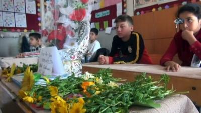 Sınıf arkadaşları hayatını kaybeden ortaokul öğrencisinin sırasına çiçek bıraktı