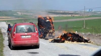 Uşak'ta trajikomik yangın söndürme mücadelesi...Yanan saman balyasını söndürmek için pet şişelerde kalan suları döktü