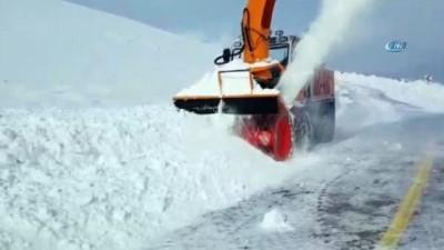 Erzurum'un kırsalında 3,5 metreyi bulan kardan kapalı yollar açılıyor
