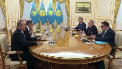 Türkiye-Rusya-İran dışişleri bakanları, Nazarbayev tarafından kabul edildi - ASTANA