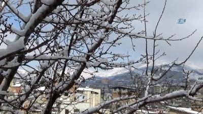 Hakkari'de etkili olan kar yağışı nedeniyle kent merkezi beyaza büründü