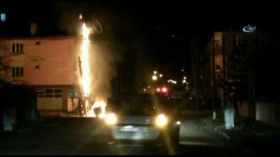 Kars'ta, alev alan trafo bomba gibi patladı
