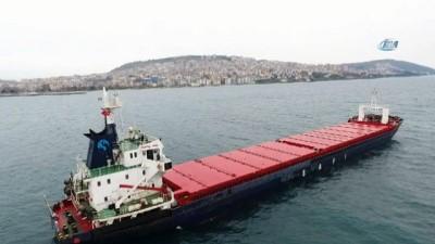 Sinop'ta patlama olan gemi liman yakınlarına demirledi...Kuru yük gemisi havadan görüntülendi