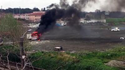 Park halindeki eğitim otobüsü kundaklandı - İSTANBUL