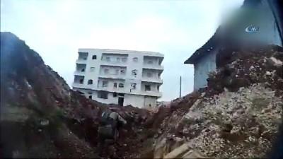 Cinderes'teki çatışma anında bir PKK/PYD'li keskin nişancının ÖSO birlikleri tarafından vurulma anı da kameralara yansıdı