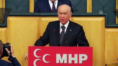 """Bahçeli: """"Kılıçdaroğlu da mekaplarını ayağına geçirip, terörist kıyafetlerini üzerine giyip doğruca PKK/PYD/YPG tünellerinde soluğu alabilir"""" - TBMM"""