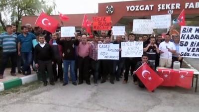Yozgat Şeker Fabrikası'nda çalışan taşeron işçiler kadro istiyor