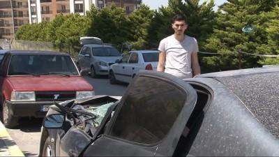 Yeni aldığı arabasının üzerine vinç böyle düştü