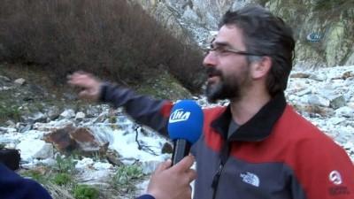Uludağ'ın zirvesinden akan 82 metre uzunluğundaki Küreklidere Şelelesi havdan görüntülendi