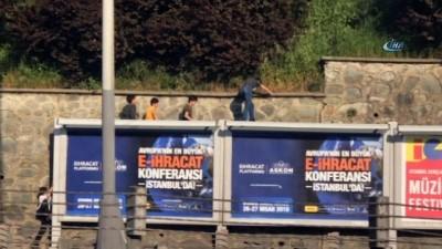 Şişli'de çocukların tehlikeli erik oyunu kamerada