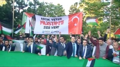Yüzlerce kişinin katılımıyla İsrail'in Ankara Büyükelçiliği Konutu önünde eylem gerçekleştirildi