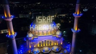 Mahya ile süslenen Reşadiye Camii havadan görüntülendi