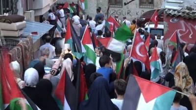 Tophaneli vatandaşlardan Filistin'e destek yürüyüşü