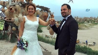 destina -  Gelin, damat fotoğrafları için Kapadokya'ya akın ediyorlar