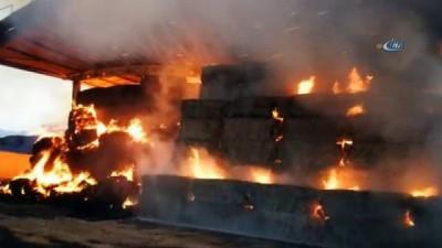 Yem deposu alev alev yandı...2 binden fazla saman ve yem balyası kullanılamaz hale geldi