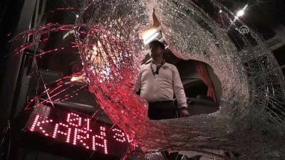 Üst geçitten otobüs ve otomobile kaya attılar - BURSA