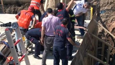 Köprülü kavşak inşaatında göçük: 1 yaralı