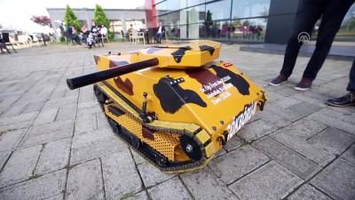 Üniversite öğrencileri elektromanyetik fırlatıcılı mini tank yaptı - TRABZON