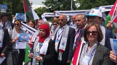 HAK-İŞ'ten İsrail'in katliamlarına Cenevre'de protesto - CENEVRE