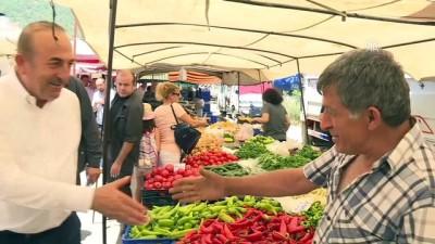 Bakan Çavuşoğlu pazar esnafını ziyaret etti - ANTALYA
